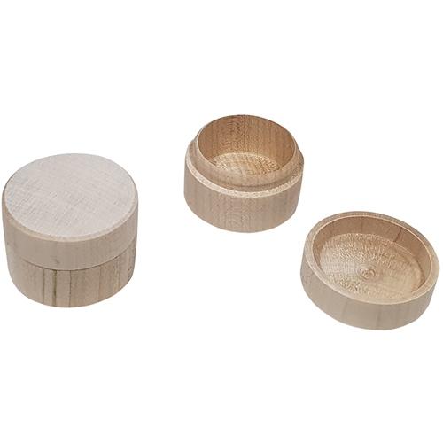 Kistje voor ringen / oorbellen beukenhout; Rond (gv)