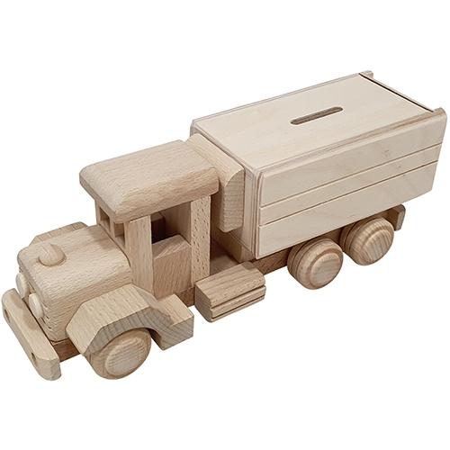 Vrachtwagen spaarpot beukenhout