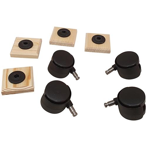 Set van 4 zwenkwieltjes met bevestigingsblokje
