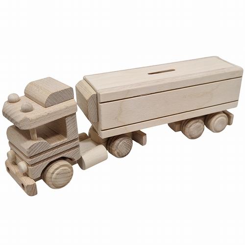 Vrachtwagen met oplegger spaarpot beukenhout (gv)