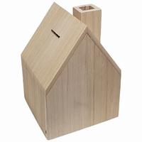 Spaarpot huisvorm met schoorsteen paulownia (0959)